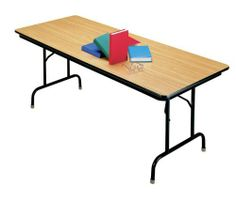 """Folding Table 96"""" x 30"""" Cherry/Black by KI Furniture. $279.00. Heritage Series 96'' x 30'' rectangular folding table by KI is constructed with a highstrength, 3/4'' solid core top, seamwelded tubular steel frame and legs, and a durable high pressure laminate top.Folding table features safety locking legs that fold flat within the frame for storage. The bullnose edge banding protects against chipping. Meets ANSI/BIFMA safety standards.Ships fully assembled."""