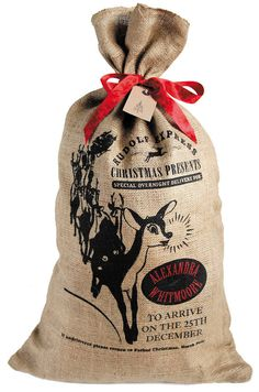 Personalized Christmas Santa sack Rudolph by HessianandBurlap, £17.99
