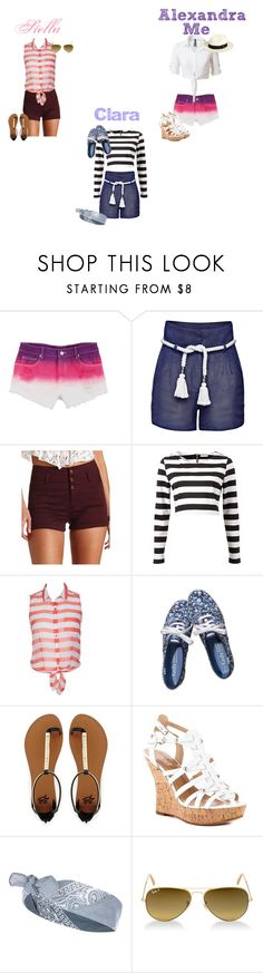 """Summer Hollydays with my bests freinds"" by glee2shake ❤ liked on Polyvore featuring dELiA*s, Candela, Charlotte Russe, OPTIONS, 2b bebe, GUESS, River Island, Ray-Ban and Vitamin A"