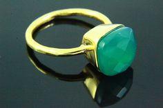 Chalcedon Ring Stein Ring natürliche grüne Onyx von earthyjewel