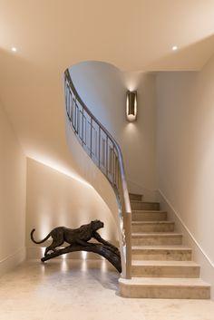 Elegant, sweeping helix staircase by John Desmond Ltd, Bedford Gardens, London UK Stair Railing Design, Home Stairs Design, Home Building Design, Stair Decor, Interior Stairs, Home Interior Design, House Design, Tiled Staircase, Luxury Staircase