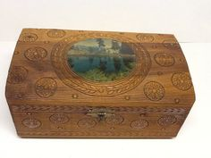 Vintage decoupage carved wood box with mirror by Glassthatrocks, $15.00
