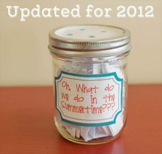 Summer Jar List – includes list of simple at home summer fun activities to draw from the jar Projects For Kids, Crafts For Kids, Activity Days, Activity List, Summer Bucket Lists, Summer Kids, Summer 2015, Summer Activities, Indoor Activities