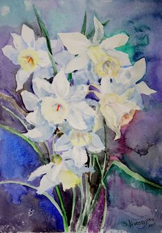 Daffodils Original Watercolor painting flowers by OriginalArtOnly