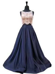 f3d3db2ccd Navy Unique Beading Sparkle Two Piece Prom Dress Prom Dresses 2018