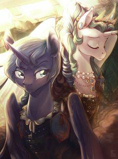 my little pony,Мой маленький пони,фэндомы,mlp art,Princess Celestia,Принцесса Селестия,royal,Princess Luna,принцесса Луна,mlp crossover