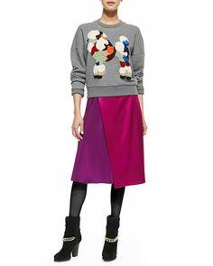3.1 Phillip LimDropped-Shoulder Poodle Sweatshirt and Two-Tone Draped Midi Skirt