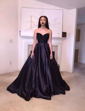 2016 Elegant Black Ball Gown Satin Court Train Evening Dress Low Back Sexy Beads Long Party Dresses Formal Gown Vestido De Festa(China (Mainland))