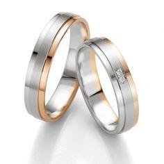 Oryginalne obrączki ślubne z kolekcji SMART LINE z białego i czerwonego złota oraz brylantami - Obrączki ślubne - GESELLE Jubiler