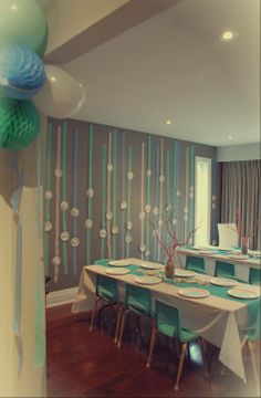 Mermaid Party Room #underthesea #kidstables #decoratingwithstreamers