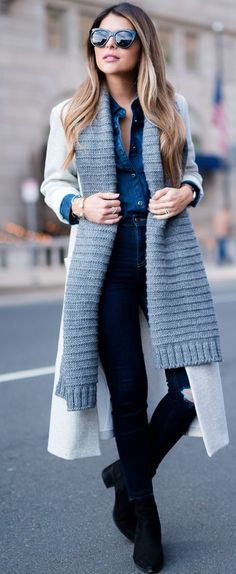 Gray Knit Scarf With Denim On Denim Fall Street Style Inspo by The Girl From Panama