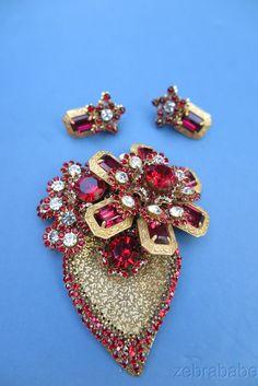 Massive Vintage Miriam Haskell Brooch Pin & Earrings Red Demi Parure #MiriamHaskell