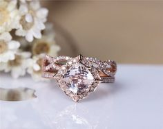 Cushion Morganite Engagement Ring Set Solid 14K by JulianStudio