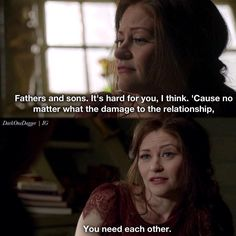 """Fathers and sons. No matter what the damage to the relantionship, you need each other"" - Belle #OnceUponATime (by darkonedagger)"
