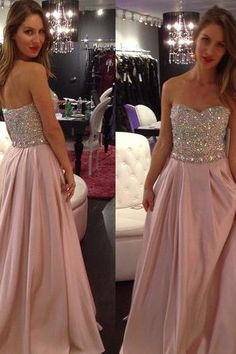 Sweetheart Crystal Beaded Prom Dresses with Pleats, A-line Pastel Prom Dress with all over Beaded Bodice, Sleeveless Floor Length Prom Dresses, #02016867