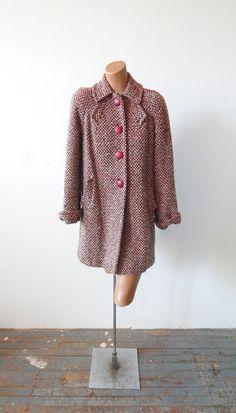 Vintage 1940s Tweed Wool Car Coat Big Vintage by VintageZipper