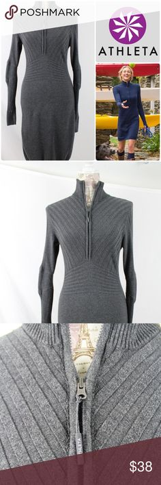 """Athleta Rib Half Zip Sweater Dress Medium, Gray Athleta Organic Cotton Rib Half Zip Sweater Dress Charcoal Gray size Medium. """"Our half zip rib sweater has gone to new lengths to give you a dressy option in this soft, knit style."""" Long sleeves. 88% organic cotton, 10% nylon, 2% spandex. When flat on front side, 17"""" between shoulder seams, 16"""" between underarms 14"""" across at waist, 17"""" at hips. Total length is 39"""". Per-owned with NO signs of wear.  No stains, snags, holes, etc. Clean and ready…"""
