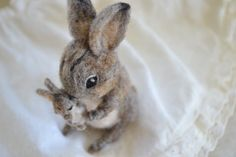Mother's day gift. Needle felted cottontail by FibersofBeing, $46.00