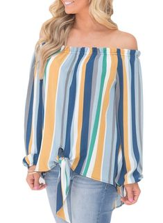 ad5bbc0b354a1 FARYSAYS Women s Striped 3 4 Bell Sleeve Off The Shoulder Front Tie ...