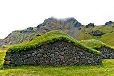 Viking style houses in Westmann Islands,Iceland