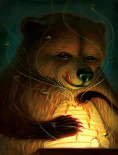 """Honey Bear"" by Chris Buzelli (Virtu Exclusive) Hand Embellished Edition of 30"
