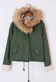 Price:$49.99 Color: Purple / Khaki / Wine Red / Army Green / Red / Light Blue / Navy Blue / Green Material: Cotton Thicken Large Fur Warm Collar Hooded Zipper Slim Overcoat Jacket