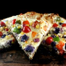 Sourdough Three Cheese Roasted Garlic Vegetable Pizza