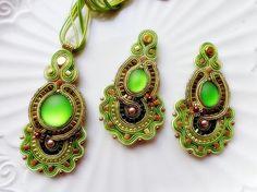 Soutache set acid green earrings and pendant fall trend