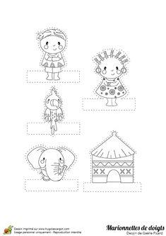 Dessin à colorier de marionnettes de doigts, l'Afrique - Hugolescargot.com