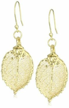 """Karen London """"Liv"""" Gold Leaf Earrings Karen London. $62.00. Made in United States. Natural, real leaf, dried and saturated in gold. Gold-plated fishhooks"""