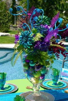 Little Mermaid Birthday Party Ideas Little Mermaid Birthday, Little Mermaid Parties, The Little Mermaid, 2 Birthday, 2nd Birthday Parties, Birthday Ideas, Little Mermaid Centerpieces, Peacock Centerpieces, Birthday Centerpieces