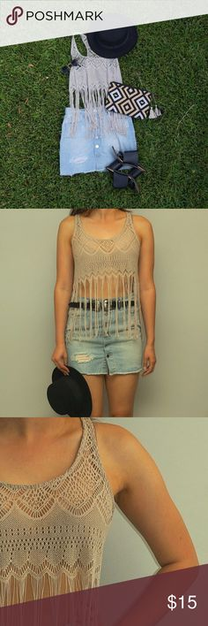 Boho Chic Fringed Crochet Crop Top Cute top for music festivals or a nice summer day! Pair it with a skirt or jeans. Windsor Tops Crop Tops