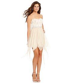 Xtraordinary Sequin Lace-Bodice Hanky-Hem Dress   Dillard's Mobile