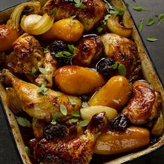 Chicken with potatoes, prunes and pomegranate molasses I Ottolenghi recipes I Poultry, potatoes, prunes and pomegranate: a four-P, one-pot dish