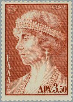 Sello: Queen Sophia (Grecia) (Greek Kings and Queens) Mi:GR 664 Ex Yougoslavie, Greek Royalty, Queen Sophia, Old Greek, Face Art, Art Faces, Donia, Vintage Stamps, Fauna