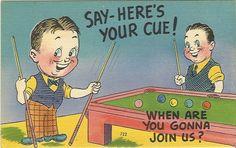 Vintage Linen Postcard Comical  Say Here's by postcardsintheattic, $4.95