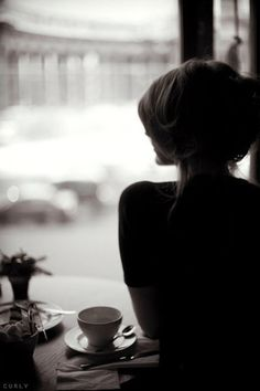 girl in a coffee shop - as seen on the board Coffee Culture by linenandlavender.net -