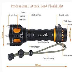 2000 Lumen CREE XM-L T6 LED 18650 Tactical Self Defense Flashlight Torch with Battery and Charger
