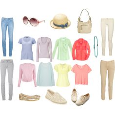 """Most of these Light spring tops are Natural style. The hat is not Natural. Naturals wear wider brimmed hats.   """"Fresh light tops with neutrals (LSp)"""" by keekii on Polyvore"""