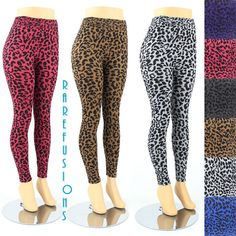 Womens Plus Size Leggings Leopard Animal Print by RAREFUSIONS, $24.99