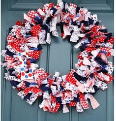 Items similar to 18 Inch Memorial Day or Of July Frayed Fabric Wreath on Etsy Wreath Hanger, Diy Wreath, Fourth Of July, 4th Of July Wreath, 4th July Crafts, Types Of Red, Memorial Day Wreaths, Fabric Wreath, 4th Of July Decorations