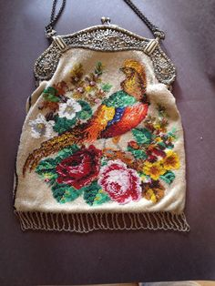 Antique Beaded Purse With Sterling Frame