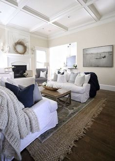 I love the use of textures here in this calming, cozy living room...