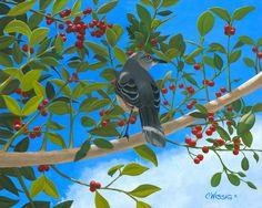 Mocking Bird, oil on canvas. Florida State bird