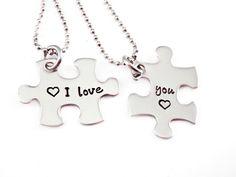 I Love You Puzzle Piece Necklace Set- 2 Puzzle Pieces - Hand Stamped Puzzle Piece Necklaces Set of 2  - Anniversary - Wedding -  Puzzle on Etsy, $36.00