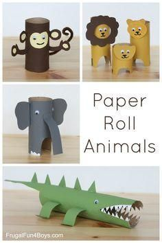 These simple toilet paper/paper towel roll animals are fun for kids and make for some cute shelf decor!