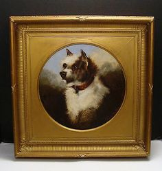 Antique Original Oil Painting of A Terrier Dog by Edwin N Benson Dated 1870