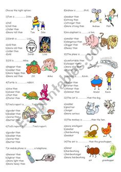 comparatives - ESL worksheet by cananaydin Degrees Of Comparison, Grammar Worksheets, Multiple Choice, English Vocabulary, Word Search, Exercises, Writing, English Language