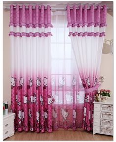 ZHH ( Single Panel ) Children Bedroom Tulle Curtains Girl Room Window Curtain Cartoon Kids Curtain Cute Cortinas For Living Room Hello Kitty Rosa, Hello Kitty Haus, Hello Kitty Bedroom, Cat Bedroom, Hello Kitty Items, Girls Bedroom, Bedroom Ideas, Master Bedrooms, Kids Curtains