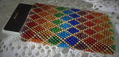 Beaded Crochet Smartphone Cell Mobile Phone Case Bag, bright